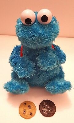 Sesame Street Count Crunch Cookie Monster Plush Talking Toy w/ 2 Cookies Rare