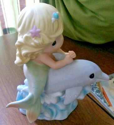 """Precious Moments Mermaid on dolphin """"Water I do without you"""" Sea Friendship"""