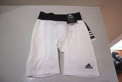 ADIDAS • Boys' Performance Slider with Protective Cup • WHITE • S  **BRAND NEW**