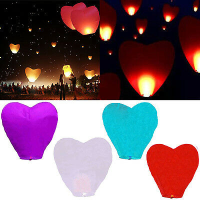 Beauty 5pcs Sky Flying Paper Wishing Lanterns Lucky Light Wedding Party Random*