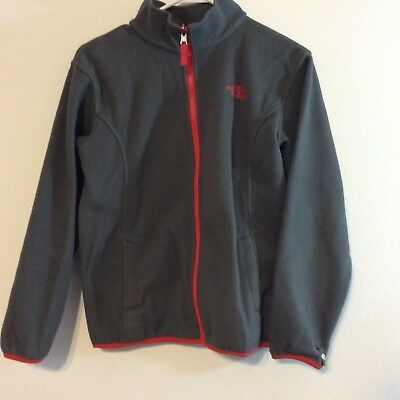 North Face boys fleece jacket size L (14-16) gray, red trim zippered