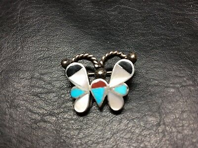 Vintage Old Pawn Zuni Sterling Silver Butterfly Pin Brooch Onyx Coral Turquoise