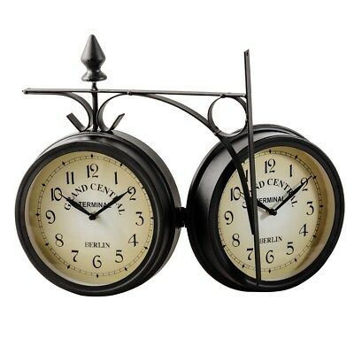 Home Vintage Antique Double Side Wall Mounted Station Clock Retro Decor Cool Hot