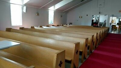 "Church pews, 30 total 15'-4"" with kneelers, good condition"