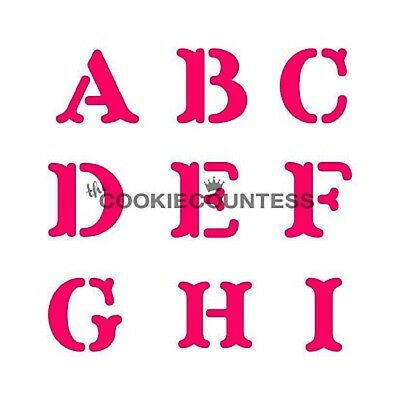 The Cookie Countess BLOCK PRINT ALPHABET / Letter Stencil (4 piece set) or cake