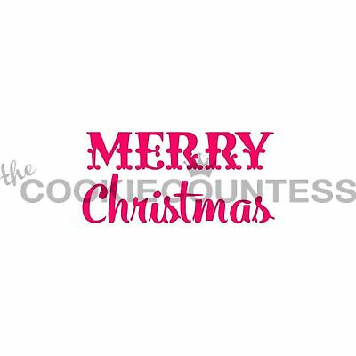The Cookie Countess MERRY CHRISTMAS Stencil - biscuit, cake, craft