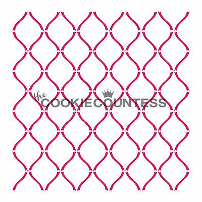 The Cookie Countess CURVY LATTICE Stencil - biscuit, cake, craft