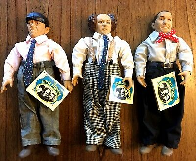 "Three Stooges 15"" Collector Doll Lot 3 Set Hamilton Gifts 1991 Moe Larry Curly"
