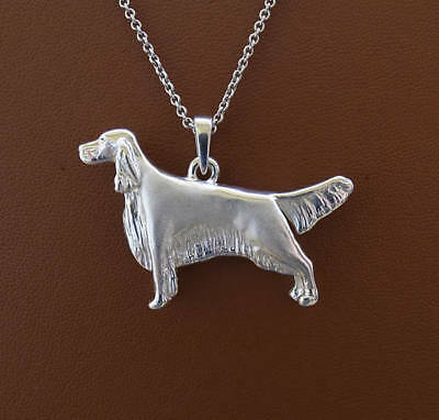 Large Sterling Silver English Setter Standing Study Pendant