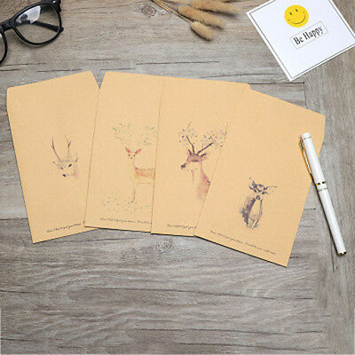 5 Pcs/set Cute Deer Envelopes Postcards Greeting Cards 10 Pcs Letter Paper Gifts