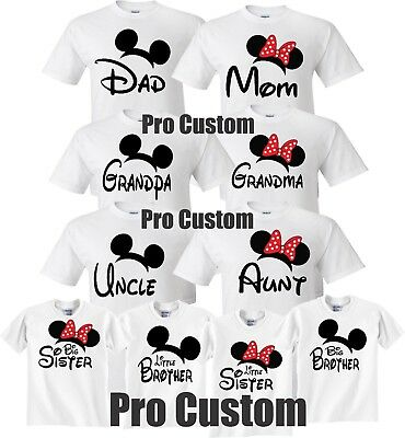 Mom And Dad Family Mickey Minnie Head Disney Birthday Customized WHITE T-Shirts