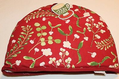 NOW DESIGN Tea Cozy Cosy MISTLETOE COLLECTION Holiday Red New NWT 100% Cotton