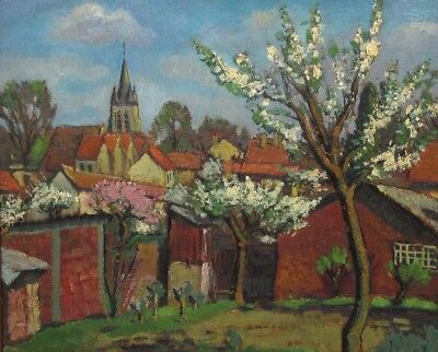 VintageFrench Oil Painting, Spring, Village, Church, Landscape, Flowering Trees