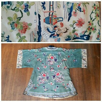 Antique Embroidered Chinese Green Silk Qing Womans Jacket Robe 19th C. AS IS