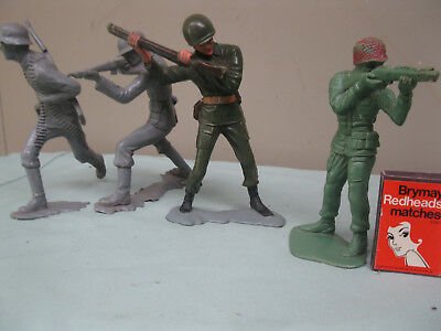 Vintage Large 6 Inch Marx Soldiers X 3 Plus 1 Extra Unmarked