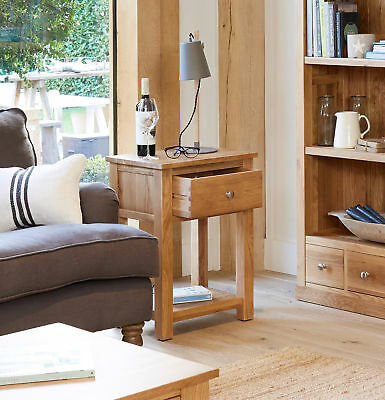 baumhaus mobel oak one drawer lamp table side end table solid oak