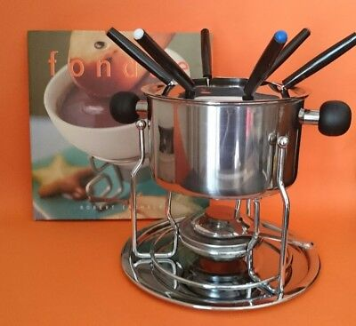 Vintage Retro Party Fondue set, Stainless steel inc 6 forks & Fondue Cook book