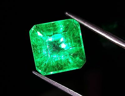 9.43 Ct Certified Fantastic Natural Square Shape Colombian Emerald Gemstone