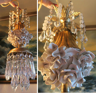 Lamp Porcelain Ivory Rose Brass tole chandelier Swag vintage crystal prisms OLd