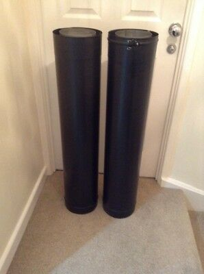 "2 x 6"" Black Twin Walled Insulated Flue Pipes - 1000mm Length"
