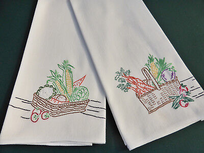 2 Vintage large Cotton Kitchen Towels-Hand Embroidered Vegies