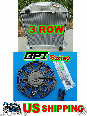 3core Aluminum Radiator fit 1932 FORD CHOPPED CHEVY ENGINE AT & FAN