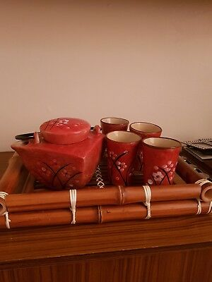 Red tea set with tray