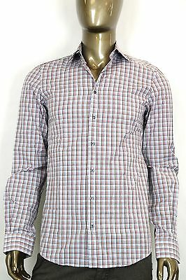 a3b3acc0 New Gucci Mens Fitted Button-Down Dress Shirt Red/White/Blue Plaid 307668