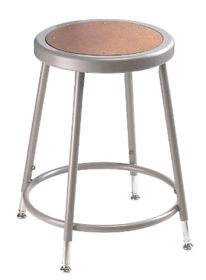 Grey Steel Stool with Hardboard Adjustable Seat  National Public Seating 6218H