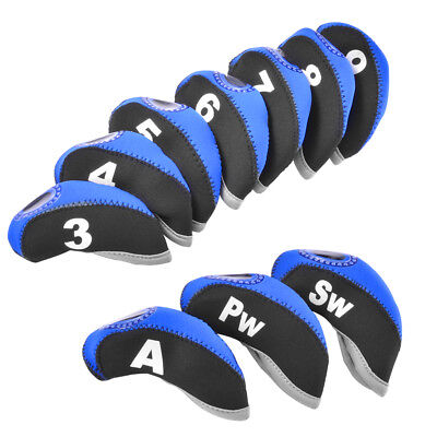 10pcs Neoprene Golf Headcover Iron Head Covers Club Head Protective Case Set