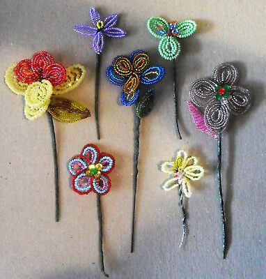 Lot 7 Handmade French Vintage Glass Beaded FLOWERS Stems Sequins Great Condition