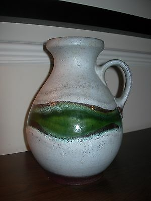 Vintage Vase 522 / 25 Green Glaze European Vintage Pottery Earthenware Marked