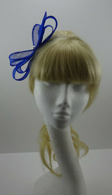Electric blue fascinator on headband for wedding/moter of the bride/party/races