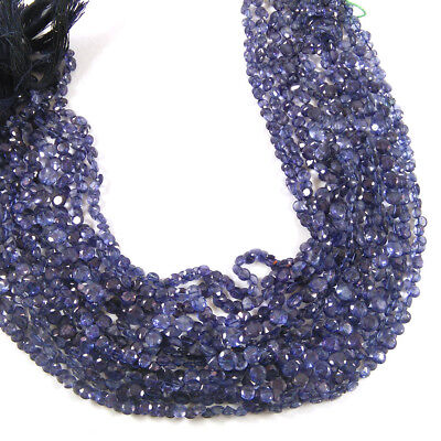 """12.24 Cts 4-5Mm Natural Iolite Faceted Diamond Cut Gemstone 2 Strand 12.5"""" Long"""