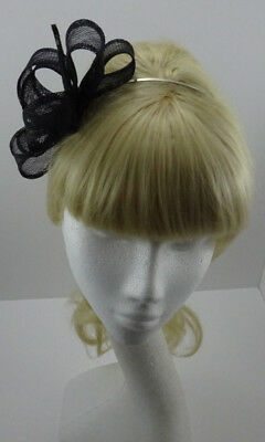 Black loop fascinator on headband for wedding/mother of the bride/Party/races