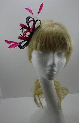 Navy blue/fuschia pink fascinator on clip for wedding/mother of the bride/races