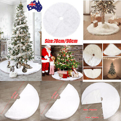 White Plush Christmas Tree Skirt Stands Apron Base Floor Mat Cover Decor 2 Sizes
