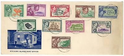 Pitcairn Island 1957 illust Cover with Set of 10 KGVI Stamps PITCAIRN ISLAND CDS