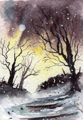 """""""winter Evening"""" Original Aceo Watercolour Painting Impressionist"""