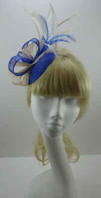 Light electric blue/cream fascinator on headband for wedding/mother of the bride