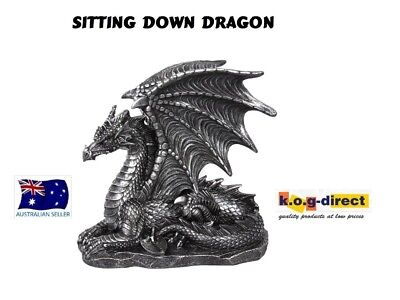 Gothic Black Dragon Figurine Sitting Down With Wings Up Dragbwin