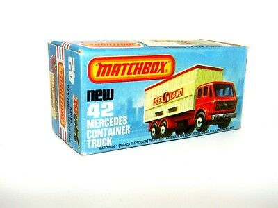"""Matchbox Superfast No 42 Mercedes Container Truck K Type Empty Box """"NEW"""" N Mint"""