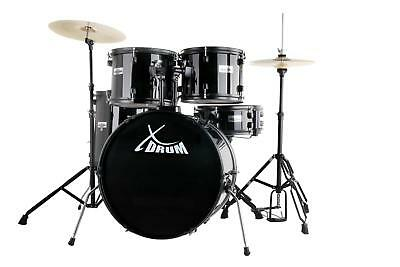 """Xdrum 22"""" Full Drum Set Drum Kit Incl. Cymbals Stands Drum Throne Dvd Black New"""