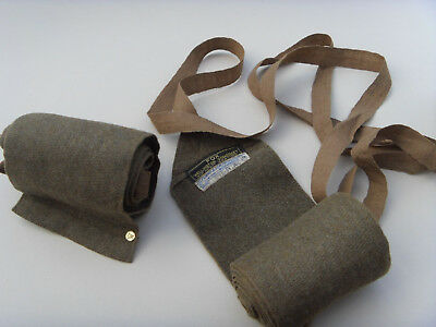 WW1 MILITARY SOLDIERS PUTTEES GENUINE & ORIGINAL w LABEL & NAMED EXTREMELY RARE