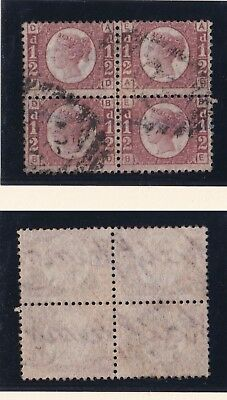 Lot:23554  GB QV  SG48 1/2d red Plate 14 block of 4  1883/84