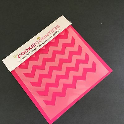 The Cookie Countess CHEVRON Stripe Stencil - biscuit, cake, craft