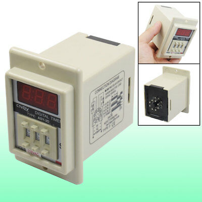 White AC 110V Power on Delay Timer Time Relay 1-999 Second 8 Pins ASY-3D