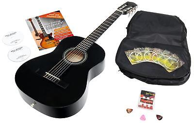 3/4 Classical Acoustic Concert Guitar Set Bag 6 Strings Picks Pitch Pipe Black