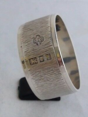 Hallmarked STERLING SILVER NAPKIN RING - 1964 ASPREY & Co. LONDON - BARK FINISH