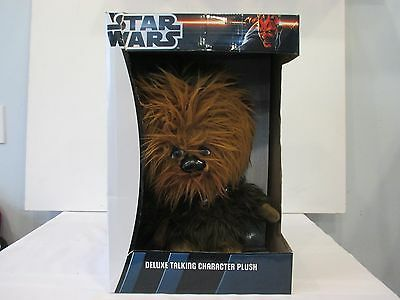 "Star Wars Deluxe Talking Character Plush Chewbacca 15""  New In Box"